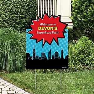 BAM! Superhero - Party Decorations - Birthday Party or Baby Shower Personalized Welcome Yard Sign
