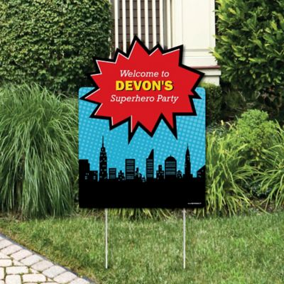 Superhero   Party Decorations   Birthday Party Or Baby Shower Personalized  Welcome Yard Sign