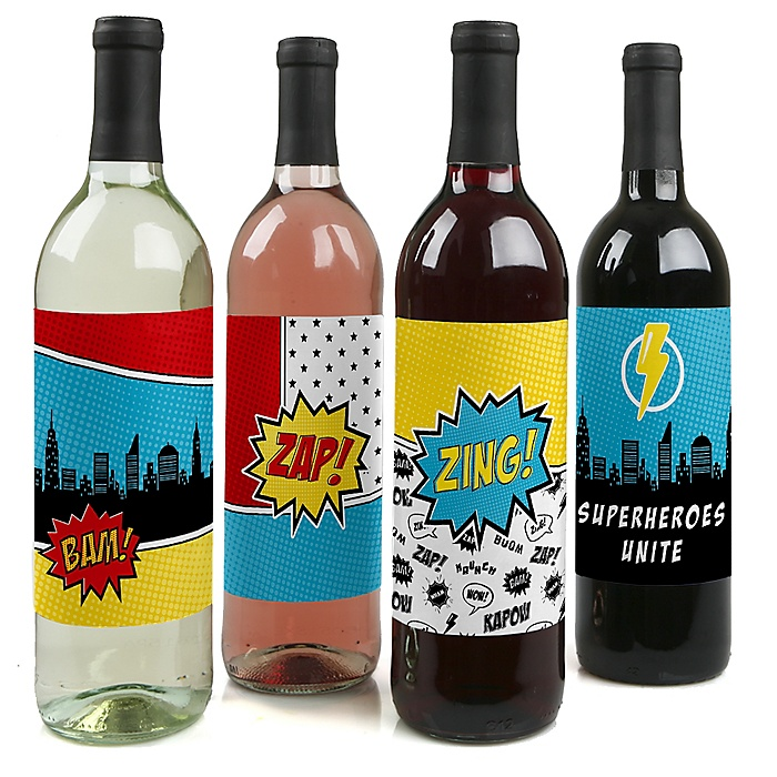 BAM! Superhero - Baby Shower or Birthday Party Decorations for Women and Men - Wine Bottle Label Stickers - Set of 4