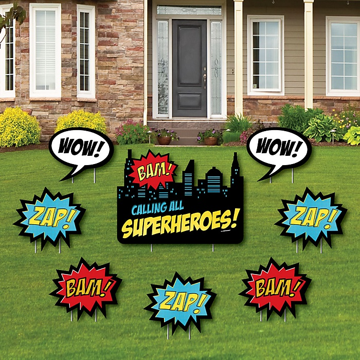 BAM! Superhero - Yard Sign & Outdoor Lawn Decorations - Baby Shower or Birthday Party Yard Signs - Set of 8