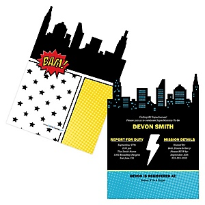 BAM! Superhero - Baby Shower Invitations - Set of 12