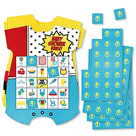 BAM! Superhero - Picture Bingo Cards and Markers - Baby Shower Shaped Bingo Game - Set of 18