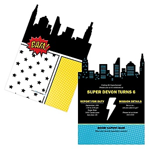 BAM! Superhero - Shaped Birthday Party Invitations - Set of 12