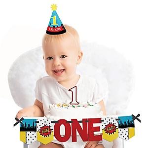 BAM! Superhero 1st Birthday - First Birthday Boy Smash Cake Decorating Kit - High Chair Decorations