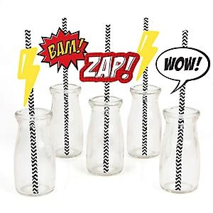BAM! Superhero - Paper Straw Decor - Baby Shower or Birthday Party Striped Decorative Straws - Set of 24