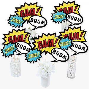 BAM! Superhero - Baby Shower or Birthday Party Centerpiece Sticks - Table Toppers - Set of 15