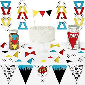 BAM! Superhero - DIY Pennant Banner Decorations - Baby Shower or Birthday Party Triangle Kit - 99 Pieces