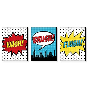 BAM! Superhero - Kids Bathroom Rules Wall Art - 7.5 x 10 inches - Set of 3 Signs - Wash, Brush, Flush
