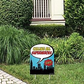 BAM! Superhero - Outdoor Lawn Sign - Baby Shower or Birthday Party Yard Sign - 1 Piece