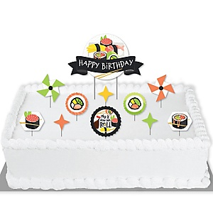 Let's Roll - Sushi - Japanese Birthday Party Cake Decorating Kit - Happy Birthday Cake Topper Set - 11 Pieces