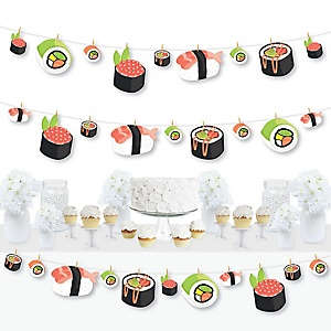 Let's Roll - Sushi - Japanese Party DIY Decorations - Clothespin Garland Banner - 44 Pieces