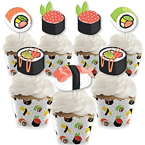 Let's Roll - Sushi - Cupcake Decoration - Japanese Party Cupcake Wrappers and Treat Picks Kit - Set of 24