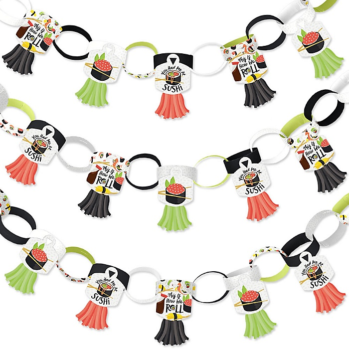Let's Roll - Sushi - 90 Chain Links and 30 Paper Tassels Decoration Kit - Japanese Party Paper Chains Garland - 21 feet