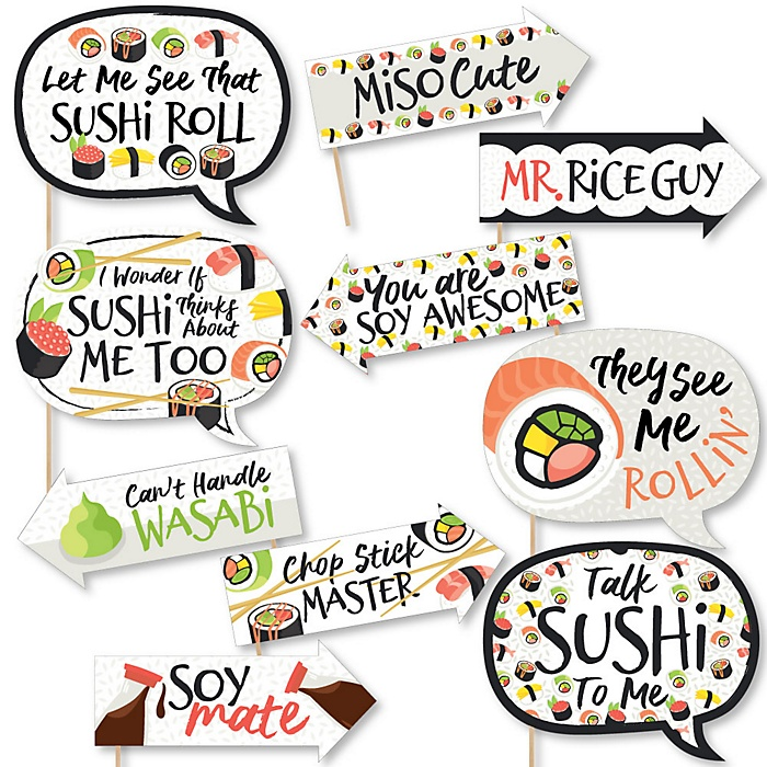 Funny Let's Roll - Sushi - 10 Piece Japanese Party Photo Booth Props Kit