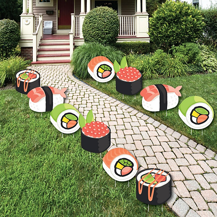 Let's Roll - Sushi - Lawn Decorations - Outdoor Japanese Party Yard Decorations - 10 Piece