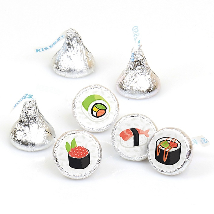 Let's Roll - Sushi - Japanese Party Round Candy Sticker Favors - Labels Fit Hershey's Kisses - 108 ct