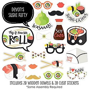 Let's Roll - Sushi - 20 Piece Japanese Party Photo Booth Props Kit
