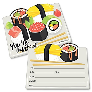 Let's Roll - Sushi - Shaped Fill-In Invitations - Japanese Party Invitation Cards with Envelopes - Set of 12