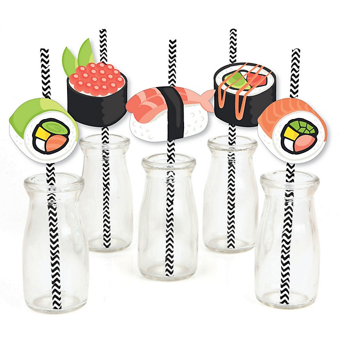 Let's Roll - Sushi - Paper Straw Decor - Japanese Party Striped Decorative Straws - Set of 24