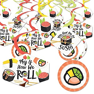 Let's Roll - Sushi - Japanese Party Hanging Decor - Party Decoration Swirls - Set of 40
