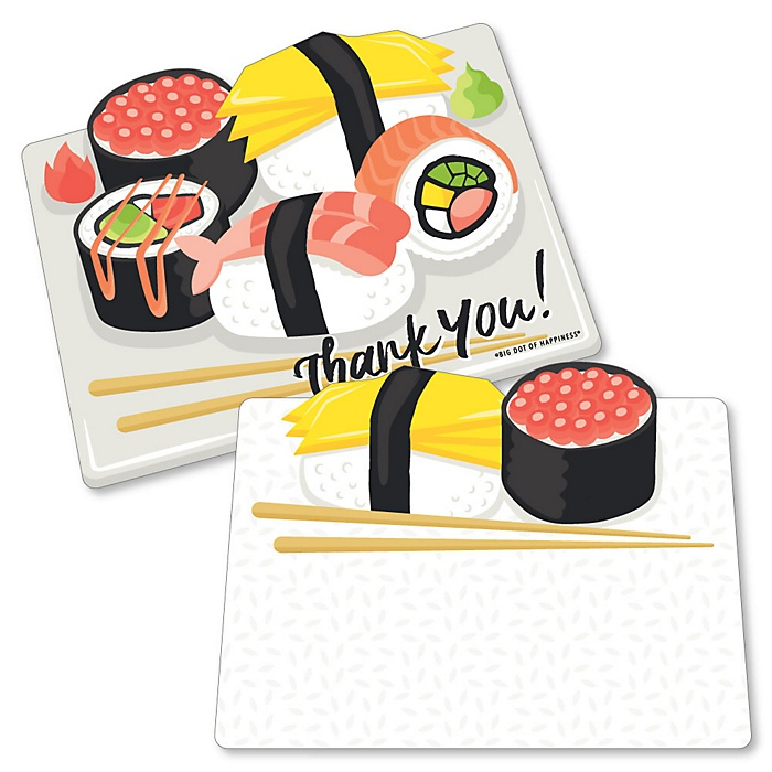 Let's Roll - Sushi - Shaped Thank You Cards - Japanese Party Thank You Note Cards with Envelopes - Set of 12