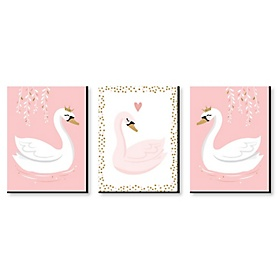 Swan Soiree - White Swan Nursery Wall Art and Kids Room Decor - 7.5 x 10 inches - Set of 3 Prints