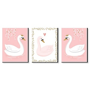 Swan Soiree - White Swan Nursery Wall Art and Kids Room Décor - 7.5 x 10 inches - Set of 3 Prints