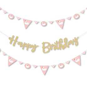 Swan Soiree - White Swan Birthday Party Letter Banner Decoration - 36 Banner Cutouts and Happy Birthday Banner Letters