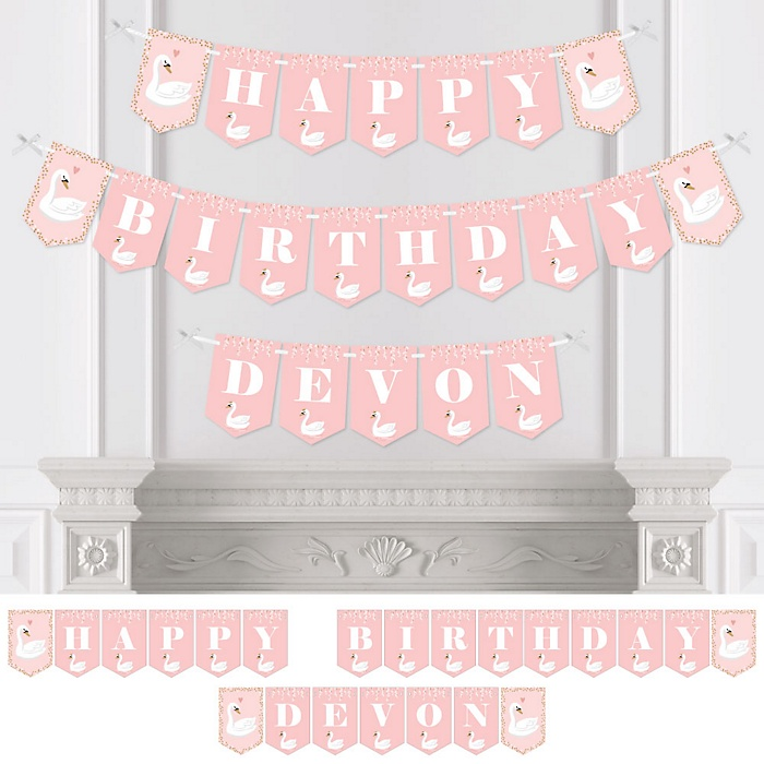 Swan Soiree - Personalized White Swan Birthday Party Bunting Banner and Decorations