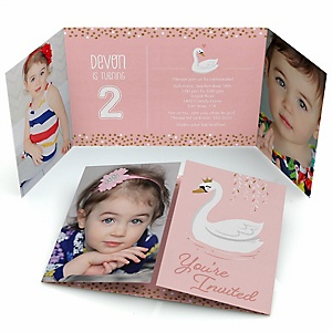 Swan Soiree - Personalized White Swan Birthday Party Photo Invitations - Set of 12