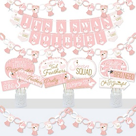 Swan Soiree - Banner and Photo Booth Decorations - White Swan Baby Shower or Birthday Party Supplies Kit - Doterrific Bundle