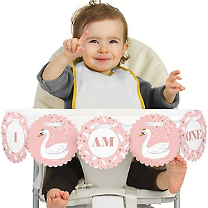 Swan Soiree 1st Birthday - I am One - First Birthday High Chair Banner