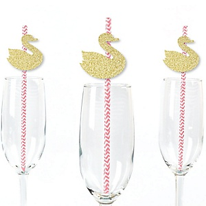 Gold Glitter Swan Party Straws - No-Mess Real Gold Glitter Cut-Outs and Decorative White Swan Baby Shower or Birthday Party Paper Straws - Set of 24