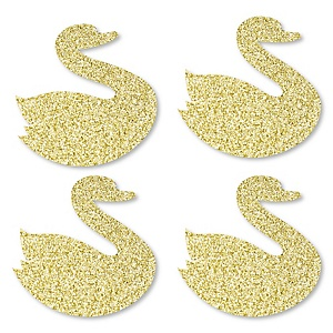 Gold Glitter Swan - No-Mess Real Gold Glitter Cut-Outs - White Swan Baby Shower or Birthday Party Confetti - Set of 24