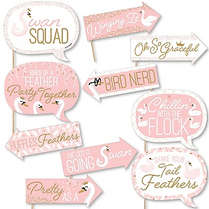 Funny Swan Soiree - 10 Piece White Swan Baby Shower or Birthday Party Photo Booth Props Kit