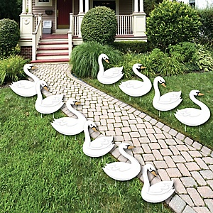 Swan Soiree - Lawn Decorations - Outdoor White Swan Baby Shower or Birthday Party Yard Decorations - 10 Piece