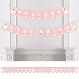 Swan Soiree - Personalized White Swan Baby Shower Bunting Banner and Decorations