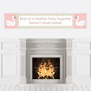 Swan Soiree - Personalized White Swan Baby Shower or Birthday Party Banner