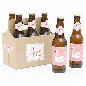 Swan Soiree - Decorations for Women and Men - 6 White Swan Birthday Party Beer Bottle Label Stickers and 1 Carrier