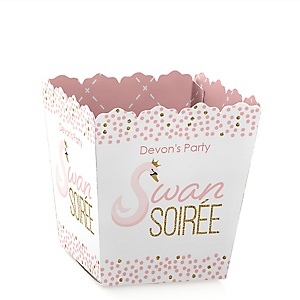 Swan Soiree - Party Mini Favor Boxes - Personalized White Swan Baby Shower or Birthday Party Treat Candy Boxes - Set of 12