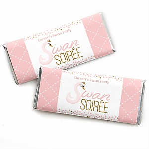 Swan Soiree - Personalized Candy Bar Wrapper White Swan Baby Shower or Birthday Party Favors - Set of 24
