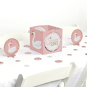 Swan Soiree - White Swan Baby Shower or Birthday Party Centerpiece & Table Decoration Kit