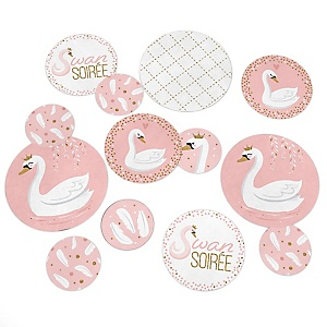 Swan Soiree - White Swan Baby Shower or Birthday Party Giant Circle Confetti - Party Decorations - Large Confetti 27 Count