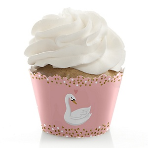 Swan Soiree - White Swan Baby Shower or Birthday Party Decorations - Party Cupcake Wrappers - Set of 12