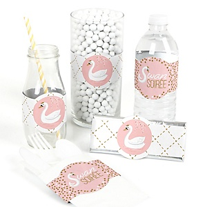 Swan Soiree - DIY Party Supplies - White Swan Baby Shower or Birthday Party DIY Wrapper Favors and Decorations - Set of 15