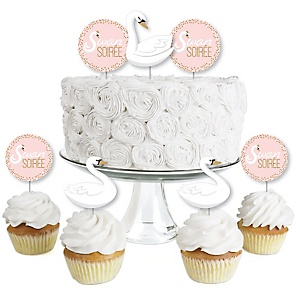 Swan Soiree - Dessert Cupcake Toppers - White Swan Baby Shower or Birthday Party Clear Treat Picks - Set of 24