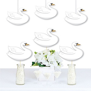 Swan Soiree - Decorations DIY White Swan Baby Shower or Birthday Party Essentials - Set of 20