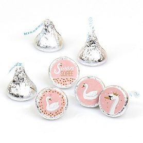 Swan Soiree - White Swan Baby Shower or Birthday Party Round Candy Sticker Favors - Labels Fit Hershey's Kisses - 108 ct