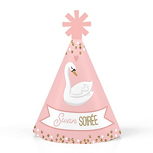 Swan Soiree - Personalized Mini Cone White Swan Baby Shower or Birthday Party Hats - Small Little Party Hats - Set of 10