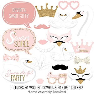 Swan Soiree - 20 Piece White Swan Baby Shower or Birthday Party Photo Booth Props Kit
